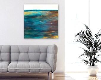 Abstract Painting, Ocean Beach Decor Seascape, Acrylic on 24x24 box canvas, Sea Escape by Jessica Torrant, blue, white, black, silver