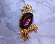 Rare Purple Bird Brooch Joan Rivers Signed Beautiful Vintage Mauve Jelly Belly Brooch