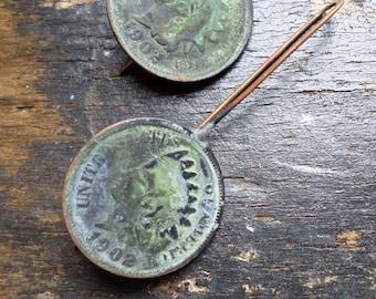 Antique Copper Indian Head Penny Earrings, Liberty Native American Verdigris Patina Historical Artifact Minimalist Sculptural Urban Earrings