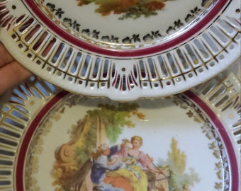 Antique 'Courting Couple' Set of 2 Pierced/Reticulated Porcelain Plates Bavaria Germany US Zone Schwarzenhammer Prinzess D'Amor Ardalt Marks