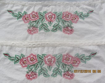 Pair of Vintage Cotton Embroidered Pillow Cases, Pink or Rose Pansies with Green Leaves, DMC Floss, Vintage Pillow Cases, Hand Embroidered