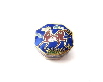 Small Oriental Cobalt Blue Cloisonne Enamel Brown Deer or Horse & Floral / Flower Vintage Unmarked Trinket Box / Pill Box / Snuff Box