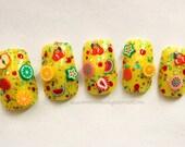 Fruit Salad Fake Nails, Press On Nails, False Nails, Square Nails, Medium, Nail Art, Acrylic Nail, Glitter, Glitter Nails, DIY Nail Art