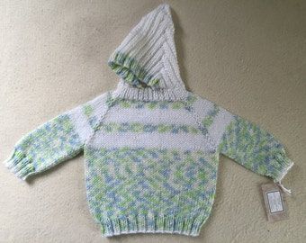 Zipper Back Hoodie Hand Knit Size 12 Months Blue Green Mix Easy Care Acrylic Free US Shipping!!