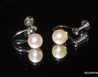 14k 14kt White Solid Gold Cultured  Pearl Earrings Screw On Back