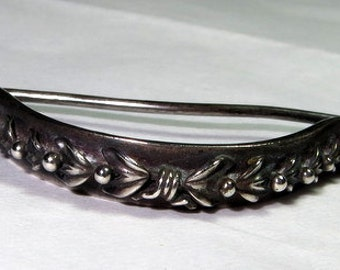 Antique Posy Flower Holder Sterling Silver Tussy Mussie Corsage c 1870