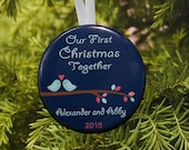 Our First Christmas Together Ornament - Birds  Navy Blue - customized with your names - C117