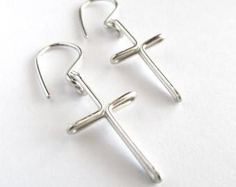 Cross Earrings. Sterling Silver Cross Dangle Earrings. Large Silver Cross Earrings.