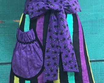 Towel Apron - Hostess Apron - Halloween - Black Cat - Purple & Black