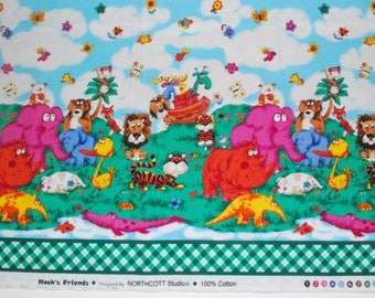 Quiltsy Destash Party Quilting Fabric Noah's Friends by Northcott border print animals ark