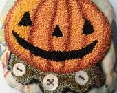 Jack O Lantern Punch Needle Ornament, Vintage Inspired Halloween Folk Art , Collectible, Handstitched Decor, Whimsical Pumpkin Embroidery