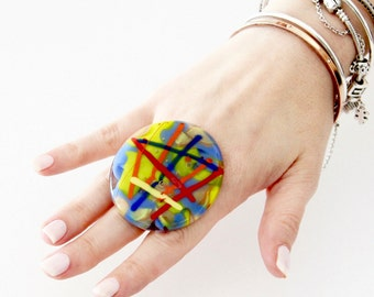 Big Ring Glass Ring  - boho fashion, unique ring, statement ring, handmade ring by Studioleanne - 2.1 inch