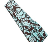 CLEARANCE SALE Padded Camera Strap Cover with Lens Cap Pocket -- Brown Aqua Damask -- Ready To Ship