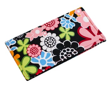Check Book Cover   Monogrammed Checkbook Wallet   Modern Floral Red and Black   CK0002