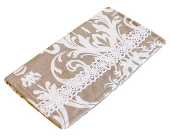 Checkbook Cover for Women   Handmade Fabric Wallet   Gray Damask   CK0005