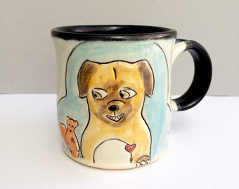 Dog Mug, Small, Blue, Dog and Squirrel Mug, Small Ceramic Coffee Mug or Tea Mug, Animal Pottery