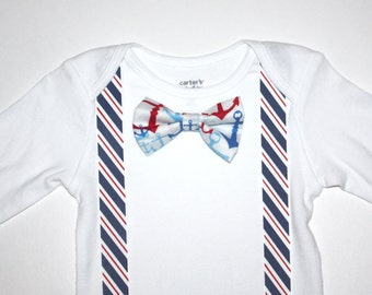 Red White Blue Nautical Baby Boy Bow Tie Onesie Free Shipping