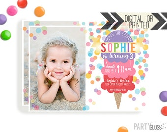Ice Cream Invitation | Digital or Printed | Photo Ice cream Invitation | Ice Cream Invitation |  Ice Cream Invite | Ice Cream Party | Sundae