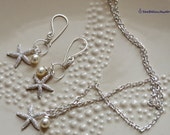 Starfish Necklace Earring Set- Cream Swarovski Pearl- Jewelry Set- Necklace and Pair of Earrings-beach wedding, bridesmaid- gifts for her