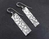 Spiral Cloud, Silver Bar Earrings, Rectangle Earrings, Nameplate Earrings Minimalist Embossed Earrings