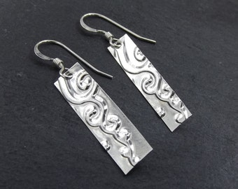 Silver Bar Earrings featuring a Spiral Cloud, Textured Rectangle Earrings