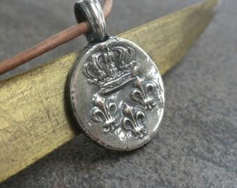 Fleur de Lis Pendant Silver French Crown Wax Seal Jewelry