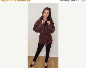 SUMMER SALE 1990s French vintage brown softest lamb leather jacket coat - medium large M L
