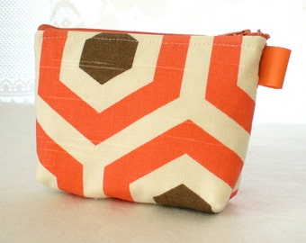 Clearance SALE Hexagons Coral Brown Natural Fabric Gadget Pouch Cosmetic Bag Zipper Pouch Makeup Bag Cotton Zip Pouch Salmon Brown Cream