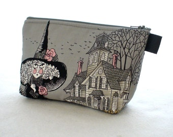 Ghastlies Fabric Large Cosmetic Bag Zipper Pouch Padded Makeup Bag Zip Pouch Alexander Henry Mathilde Witch Gray Black Halloween Ghastly TGS