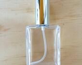 Set of 6 Elegant 1oz (30ml) Rectangular Spray Bottles with Shiny Silver Cap for Perfume or Cologne