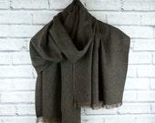 Oversized Irish Linen Scarf - Brown Pinstripe