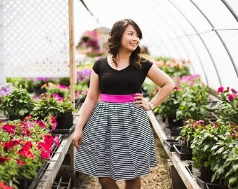 Striped Skirt, Pleated Summer Skirt, Cotton Skirt, Black and White Skirt, Summer Skirts, Skirt with Pockets, Fun Skirts, Womens Skirts