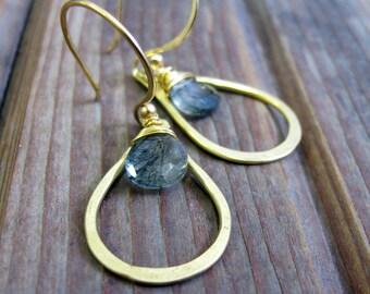 Sundrop - Moss Agate Earrings - Semi Precious Stone and Brass Teardrop Earrings - Artisan Tangleweeds Jewelry