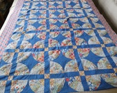 Vintage quilt top, blue quilt topper, 1930s patchwork, blue fans, unfinished quilt, unfinished patchwork, 30s bedding, country decor