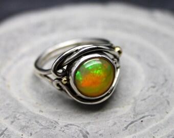 Ethiopian Fire Opal Welo Opal Fairy Swirl Ring, opal ring, fire opal ring, opal engagement, organic band, goddess ring, rainbow opal ring