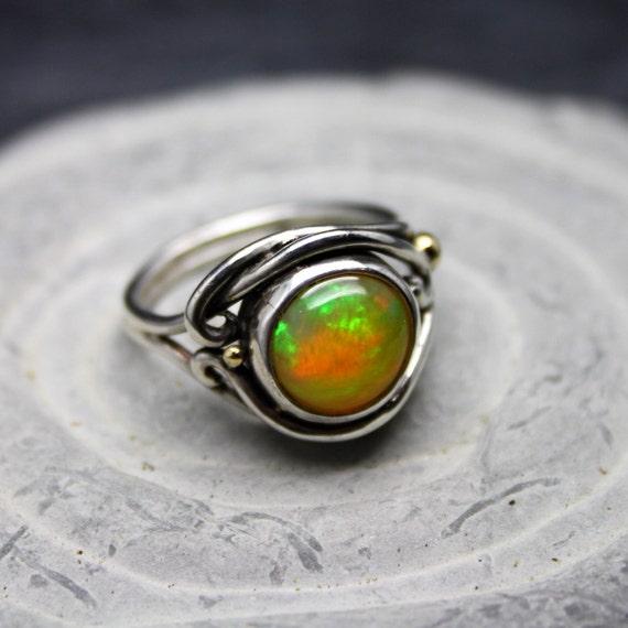 Ethiopian Fire Opal Welo Opal Fairy Swirl Ring Opal Ring