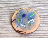 Vintage Enamel Copper Modernist Abstract Pin Brooch, Copper Enamel Pin, Modernist Pin, Mid Century Modern