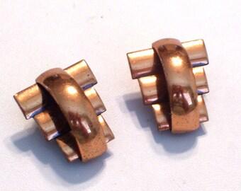 Renoir Earrings, Renoir Peter Pan Earrings, Vintage RENOIR Copper Peter Pan Modernist Clip Earrings, Modernist Earrings, Mid Century Copper