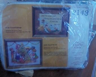 "Vintage 1981 embroidery/needlework Christmas ""Good Tidings"" & ""Small World"" kit"