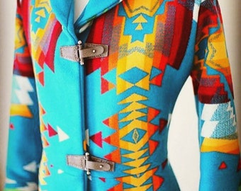 2 left!~ Couture Shawl Collar Navajo Wool Blanket Coat