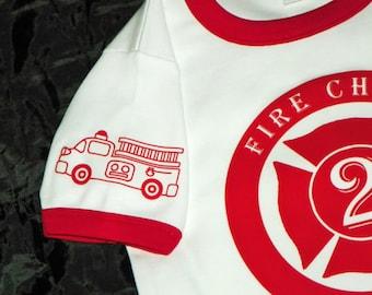 Firetruck Birthday Shirt. Fire Engine Birthday Party. Fire Truck Party Shirt. Personalized Firetruck Tee. Custom Fire Truck. Kid Fire Shirt