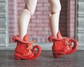 New Meditarrenian coral red 1:6 scale leather elf boot
