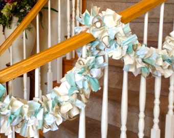 Ocean Beach Garland,Fabric Garland in Cream,White and Sea Foam Green,Fabric Garland,Home Decoration,Party Decoration,Beach Fabric Garland