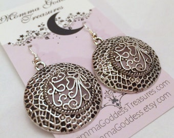 Antique Pewter Round Disc Earrings