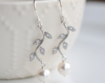 Wedding Earrings Rhinestone Vine and Round Pearl Bridal Earrings Alexis