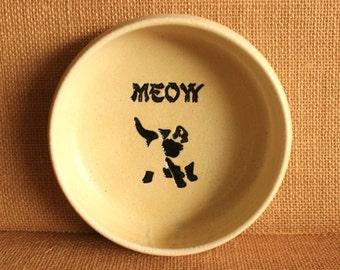 Adorable Handmade Cream Stoneware Siamese Kitten CAT Bowl MEOW