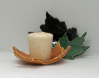 Decorative Porcelain Maple Leaves Imprinted Set of 3