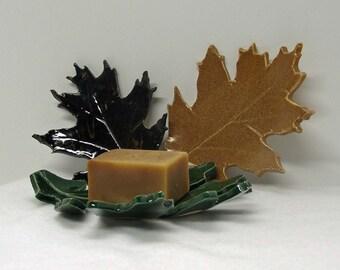 Handbuilt Trio of Oak Leaf Imprinted Plates