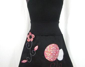 Chihiro black skirt and pink Japanese birds
