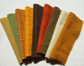 Primitive - Autumn Tones - Brown - Gold - Green Orange - Hand Dyed Felted Wool in a Collection a Perfect Rug Hooking and Applique Wool